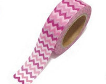 SALE Washi Tape - 1 pc - Pink Zigzag Chevron Stripes - Paper Deco Tape
