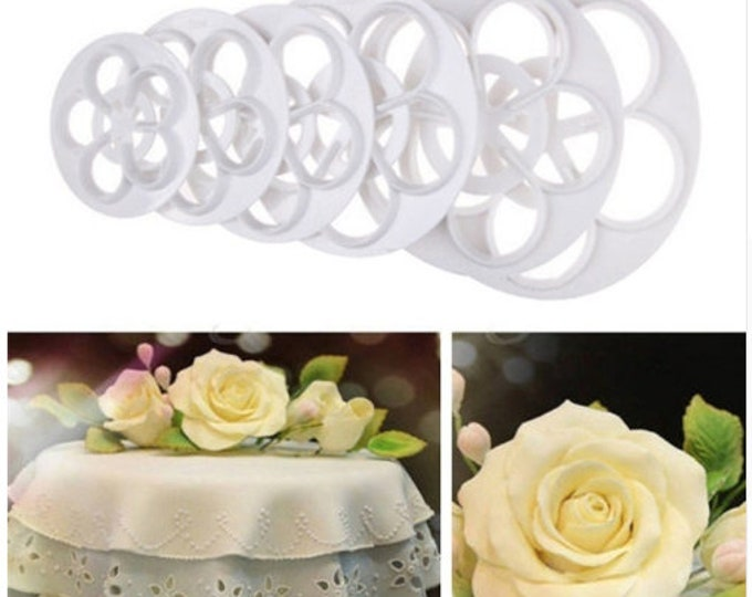 Rose Petal 6pc Cutter Set - SLH173 - Banner Streamer Mold Party Biscuit Gumpaste Fondant Sugarcraft Sugar Flower Petals
