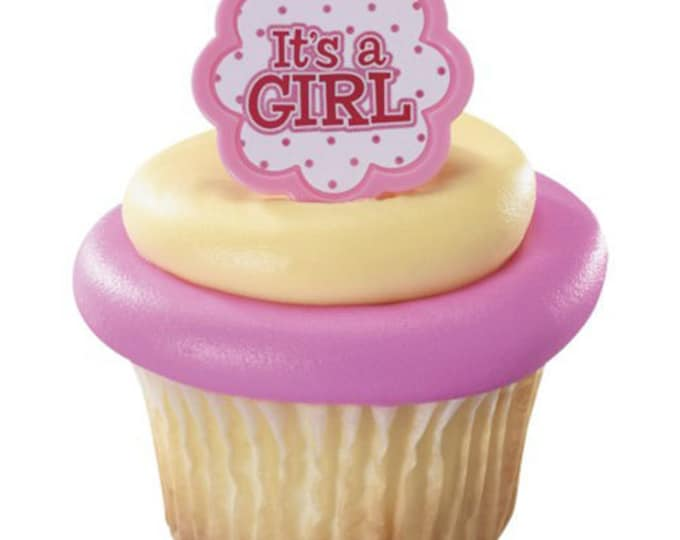 SALE 24 It's a Girl Ring Cupcake Topper