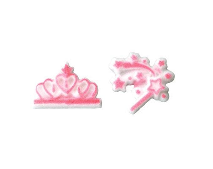20 Princess Tiara and Wand Sugar Topper Decorations for Cakes & Cupcakes