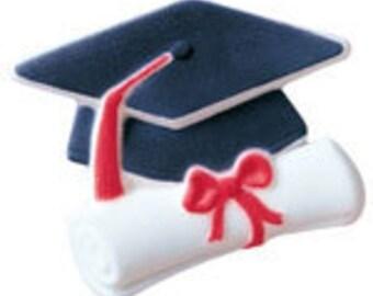 30 Cap & Scroll Graduation Edible Molded sugar Cake / Cupcake Topper Decorations Junior Elementary Grammar Grade High School College