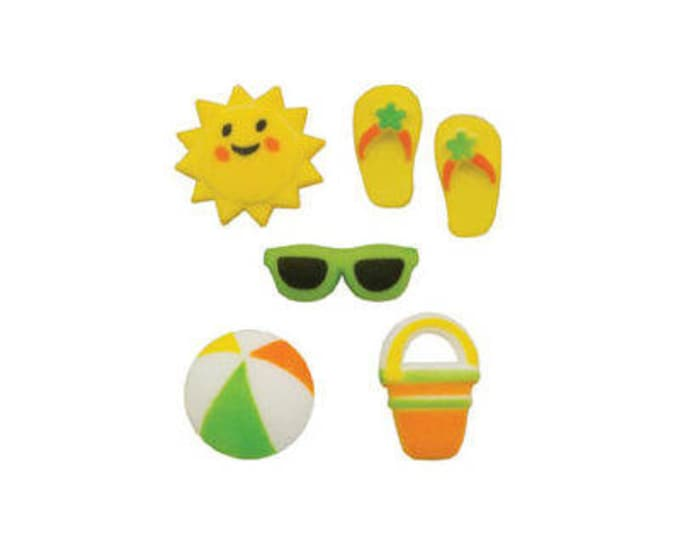 15 Summer Fun Molded Sugar Cake Cupcake Topper Decorations Grill Beach Ball Flip flops Sun Pail Shovel Sunshine