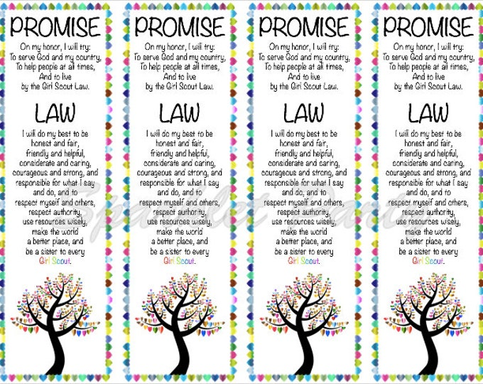 Girl Scout Promise and Law Bookmark Printable