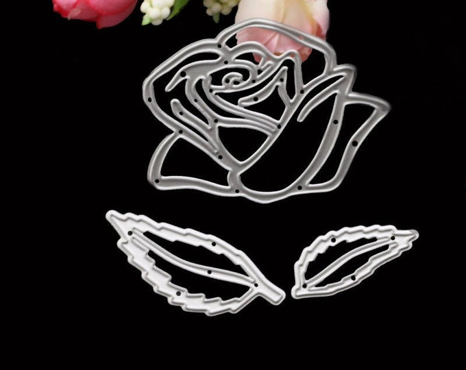 Rose 3 pc Flower Stencil Die Cut Set - 88033 - Candy Fondant Cutter Scrapbook Decorative Cutting Template