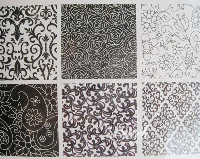6pc Floral Lace Texture Cake Design Pattern Mat - Cake Mold Baking Chocolate