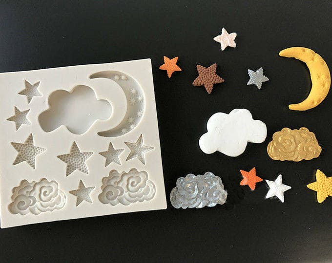 Stars Moon Cloud Night Sky Silicone Mold - M-207 Baking Fondant Happy Birthday Party Teapot Teacup cup Cupcake