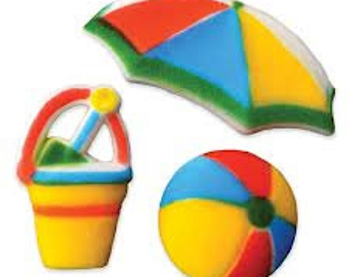 12 Fun in the Sun Molded Sugar Cake / Cupcake Topper Decorations Beach Ball Shovel Pail Umbrella