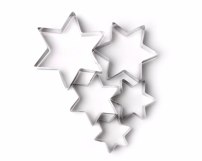 5 pc Star Cookie Cutter Set - Party Biscuit Fondant Sugar Cutter