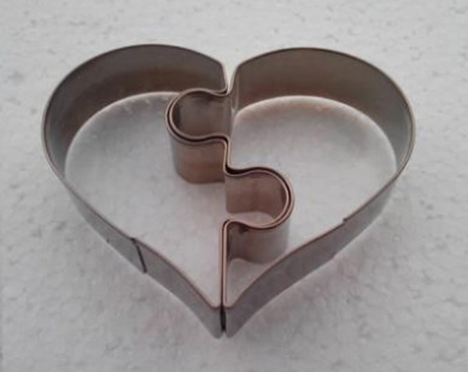 2 pc Set Heart Puzzle Cookie Cutter Set - Valentine's Day Sweet Love Wedding Mold Party Biscuit Fondant Sugar Cutter