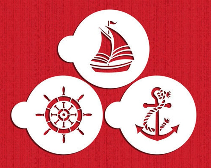 Sailor Nautical Stencil Set - ST-650 - Cookies, Cupcakes & Cakes Design Decorations Sailboat Ship Boat Anchor Wheel