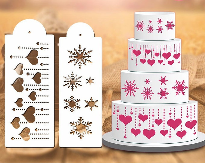 Snowflakes / Hearts Stencil Set - ST-543/D-03 - Cookies, Cupcakes & Cakes Design Decorations