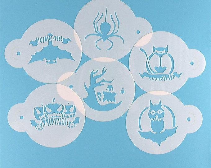 Halloween Stencil Set 862512 Cookies Cupcakes Cakes Haunted Mansion Bats Jack-o-lantern Witch Spider Ghouls Ghosts Wicked Black cat