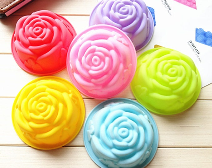 SALE Rose Flower Silicone Mold Cup -  Baking Fondant Candy Royal Icing