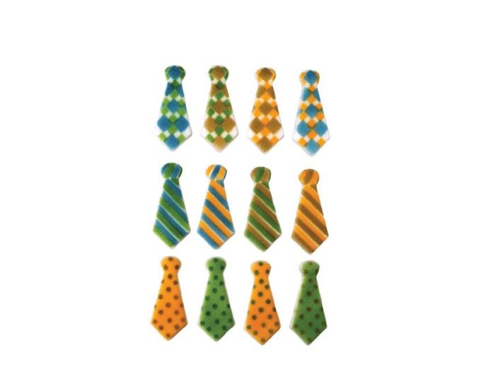 24 Tie Assortment Neckties Molded Sugar Cake / Cupcake Topper Decorations