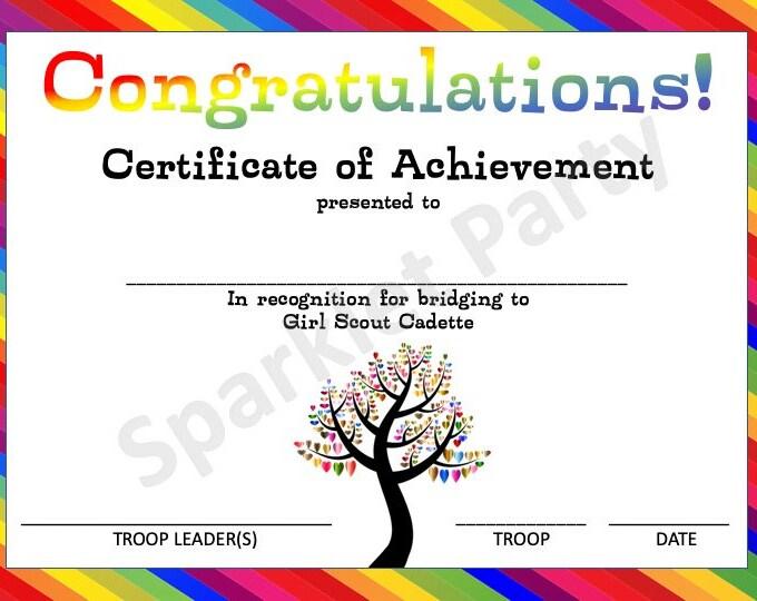Girl Scout Printable Bridge to Cadette Bridging Award Certificate