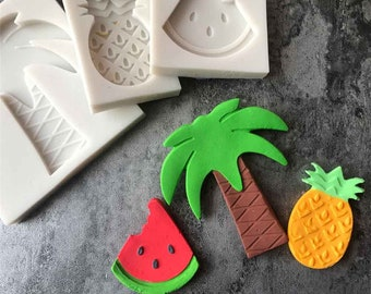 Palm Tree Fruit Pineapple Watermelon 3pc Silicone Mold Set - Baking Fondant Happy Birthday Party Cupcake Summer Tropical Flamingo