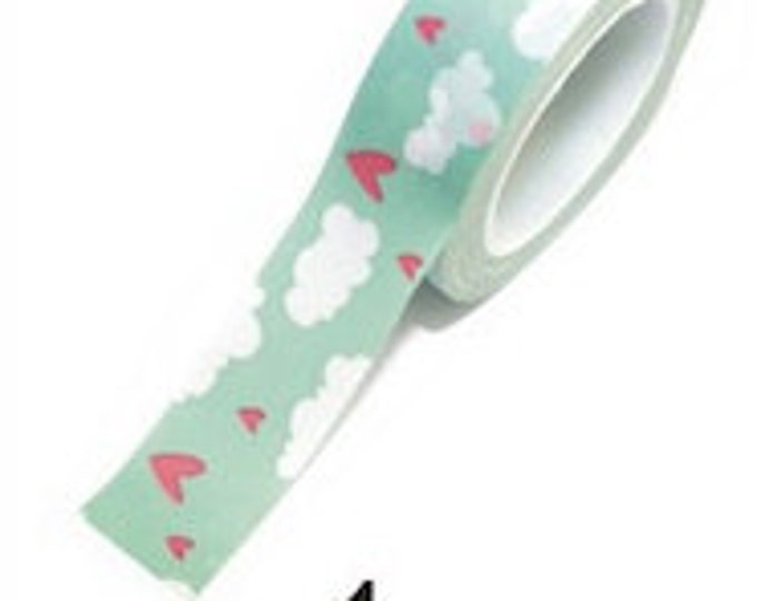 SALE Washi Tape - 1 pc - Blue White Clouds Pink Hearts - Paper Deco Tape