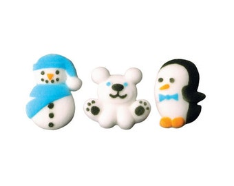 12 Winter Buddies Molded Sugar Cake / Cupcake Topper Decorations snowman penguin polar bear