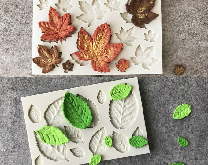 Leaf Leaves Maple Vine 2pc Silicone Mold Set - Baking Fondant Soap Chocolate Candy Jelly Musical Base Treble Score