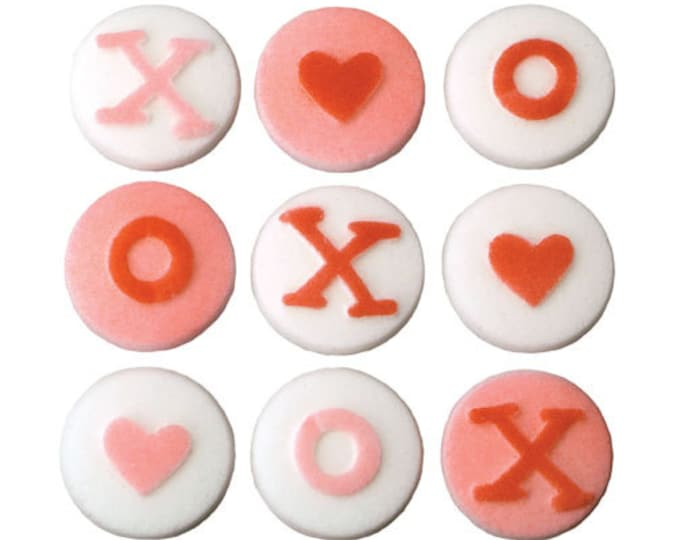 12 Xoxo Love Assortment Molded Sugar Cake / Cupcake Topper Decorations