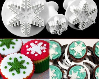 3 pc Snowflake A Cookie Cutter Plunger Mold Set - SLH006 Snowflake Snow Frozen Elsa Snowflakes Winter Candy Fondant Cutter