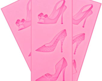 Shoes Heels Silicone Mold Set - L1590/C1491 Baking Fondant Soap Chocolate Candy Jelly Swirls Wedding Pumps