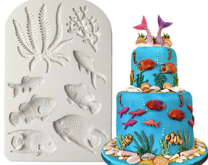Sea life Corals Fish Seaweed Silicone Mold - CF401 - Baking Fondant Happy Birthday Party Wedding Cake Bridal Baby Shower Ball