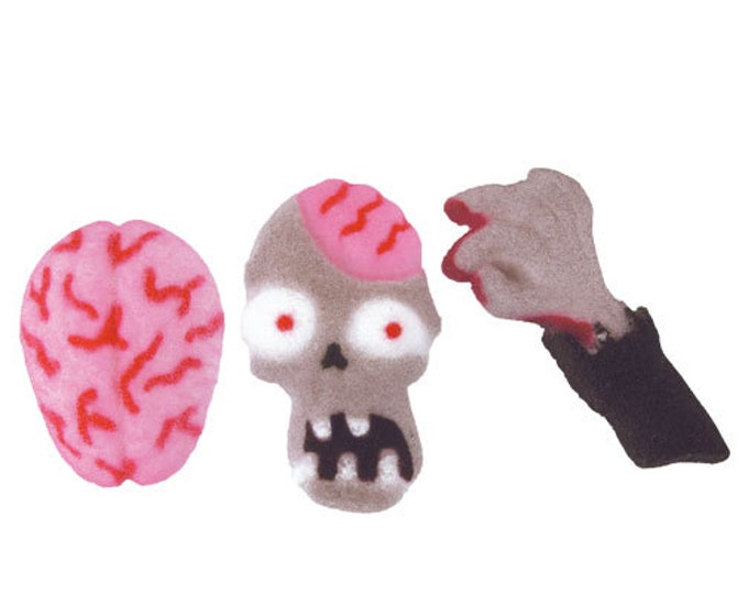 24 Zombie Attack Edible Molded Sugar - Cake / Cupcake Topper Decorations Brains Blood izombie Walking Dead Undead Walkers Halloween Biters