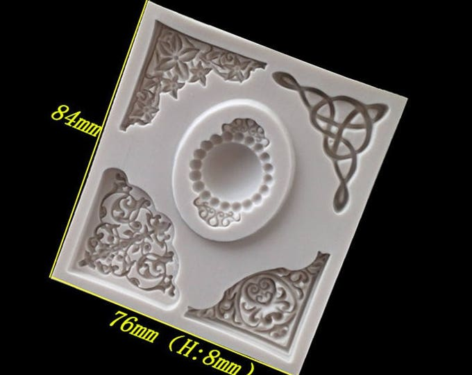Vintage Corners Silicone Mold - XL104D 719510 - Baking Fondant Happy Birthday Party Royal Icing Chocolate