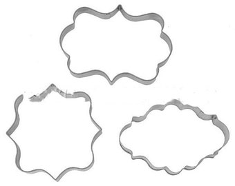 3 pc Plaque Frame Cookie Cutter Set - E397