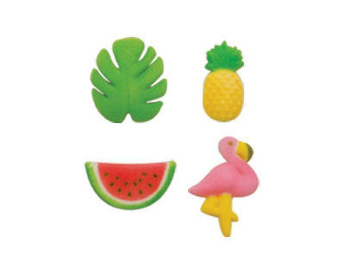 12 Tropical Summer Molded Sugar Cake Cupcake Topper Decorations Cactus Pineapple Watermelon Flamingo
