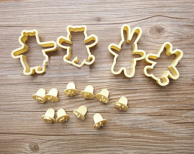 14 pc Bunny Rabbit Bear Face Cookie Cutter Set - SLH269 - Fondant Cake Decoration Cookie Cutter Tool Set
