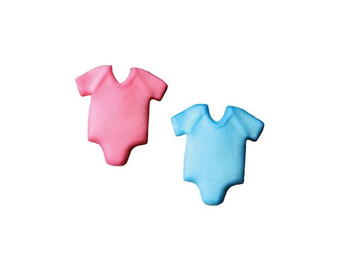 12 Baby Onesie One Piece Molded Sugar Cake / Cupcake Topper Decorations Baby Shower