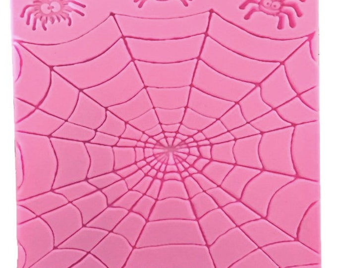 Spider Web Silicone Mold - G195  Baking Fondant Candy Royal Icing Halloween Spiders