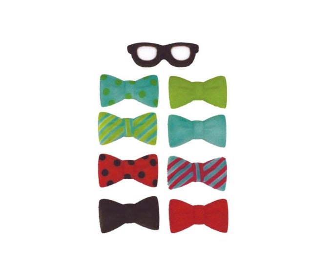 16 Geek Glasses Bow Tie Set Molded Sugar Cake / Cupcake Topper Decorations Nerd Glasses Bow tie