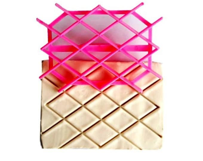 Diamond Grid Fondant Embosser Cake Cookie Cutter Imprint Set - D795