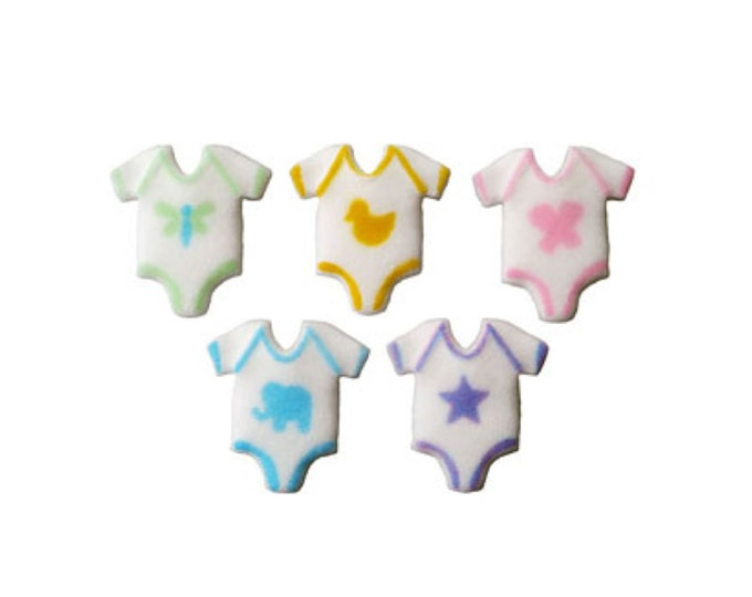 20 Baby Onesie Sugar Topper Decorations for Cakes & Cupcakes