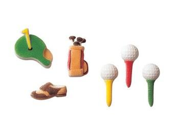 24 Golf Assortment Edible Molded Sugar Cake / Cupcake Topper Decorations