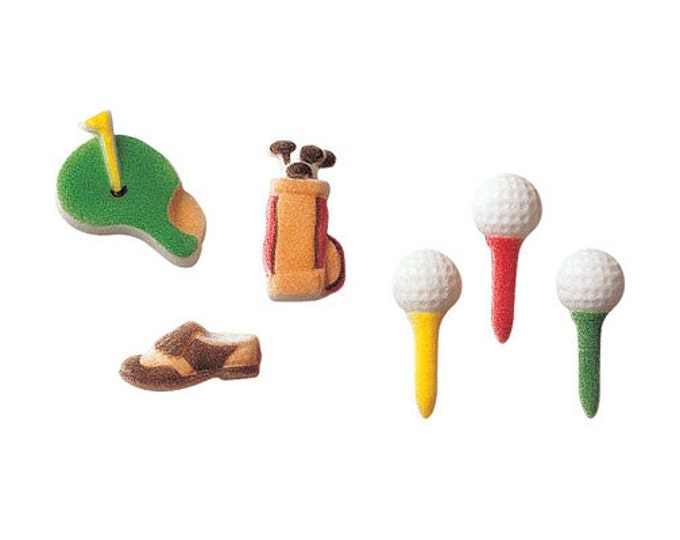 24 Golf Assortment Edible Molded Sugar Cake / Cupcake Topper Decorations