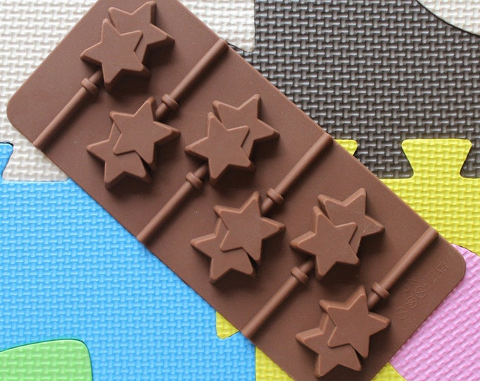 Chocolate Star Lollipop Silicone Mold - PL092 - Chocolate Baking Soap Fondant Ice Cube Tray