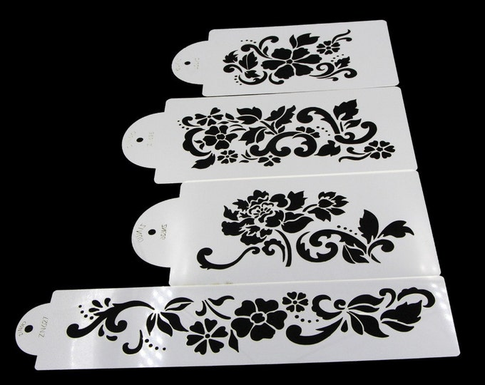 4 pc Flower Wedding Cake Stencil Set - 53038