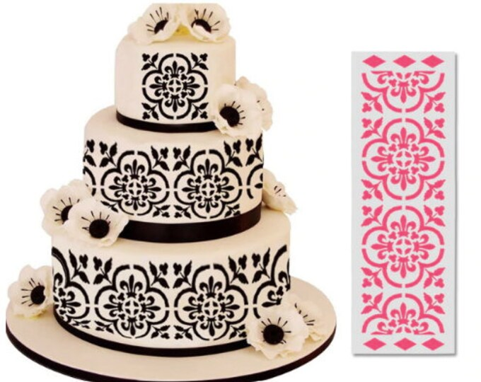Floral Fleur de lis Cake Stencil Set - 75035 - Wedding Birthday Party