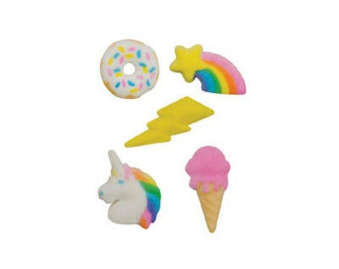 18 Rainbow Unicorn Molded Sugar Cake Cupcake Topper Decorations Ice Cream Lightning Donut Doughnut Sun Shooting Star Summer