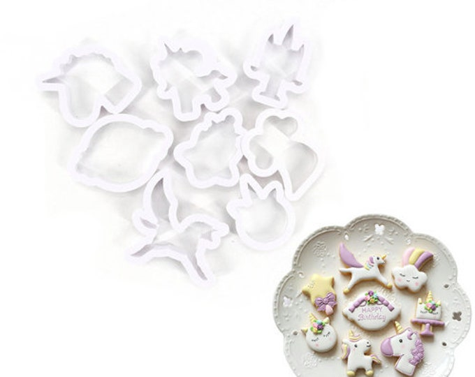 Unicorn 8pc Cookie Cutter Set - U108 - Banner Streamer Mold Party Biscuit Gumpaste Fondant Sugar Cutter Fantasy Cloud Rainbow Star Sky
