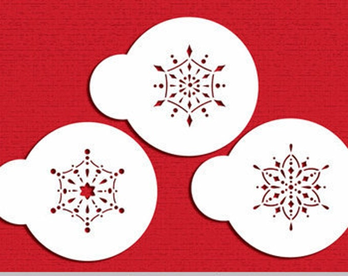 Mini Jeweled Snowflake Stencil Set - ST-533 - Cookies, Cupcakes & Cakes Design Decorations Winter Snow Cold Snowflakes Ornaments Gem Jewels