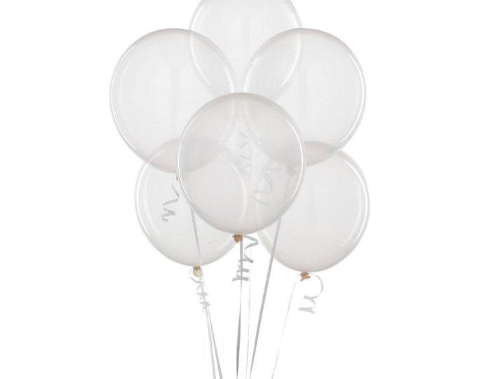 12 inch Clear Balloons 6pc - Birthday Party, Bridal Shower, Baby Shower