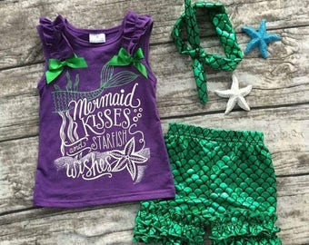 Mermaid Outfit - Tank Shorts & Headband Set