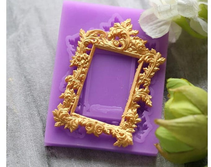 Rectangle Frame Silicone Mold - X-161 -  Baking Fondant Candy Royal Icing Rectangular Square Vintage Mirror