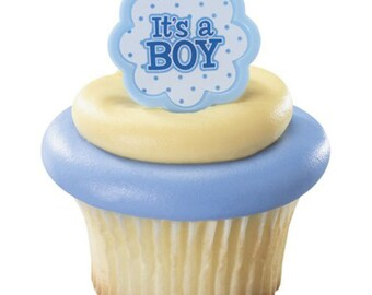 SALE 22 It's a Boy Ring Cupcake Topper