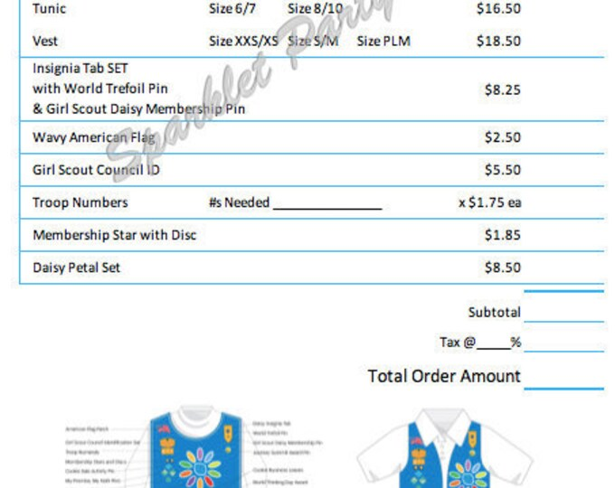 Printable Girl Scout Daisy Uniform Order Form